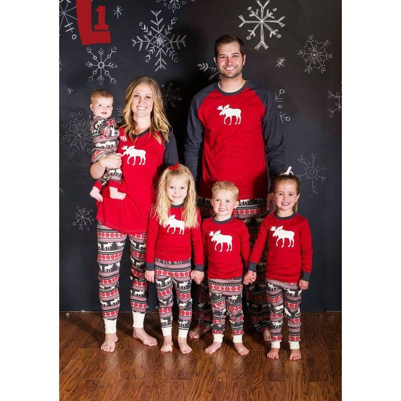 Moose Fairy Family Christmas Pajamas Set Adult Kids Sleepwear Nightwear Pjs Mother Daughter Outfits Family Matching Clothes