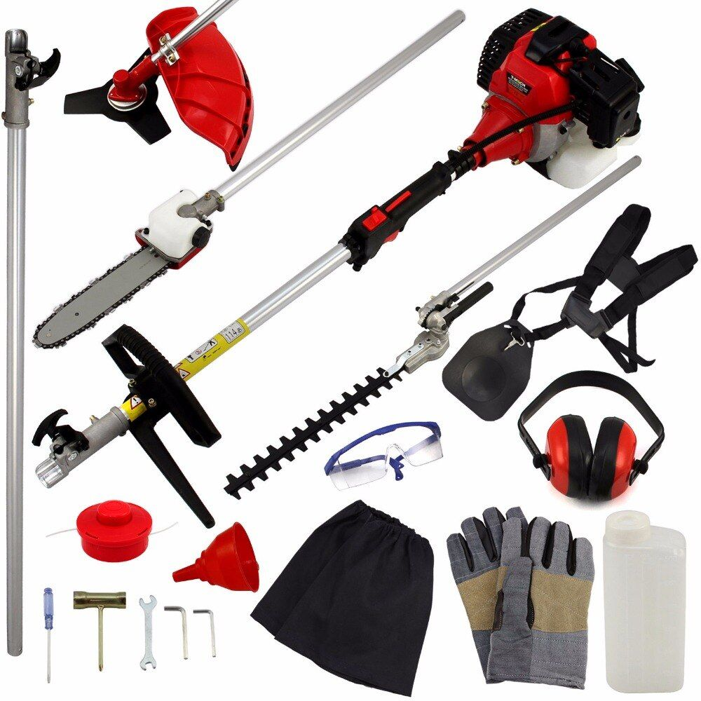 2017 New Power Garden Hedge Trimmer 5 in 1 Petrol Strimmer Chainsaw Brush cutter Multi Tool 52cc 1.75KW 2 stroke engine