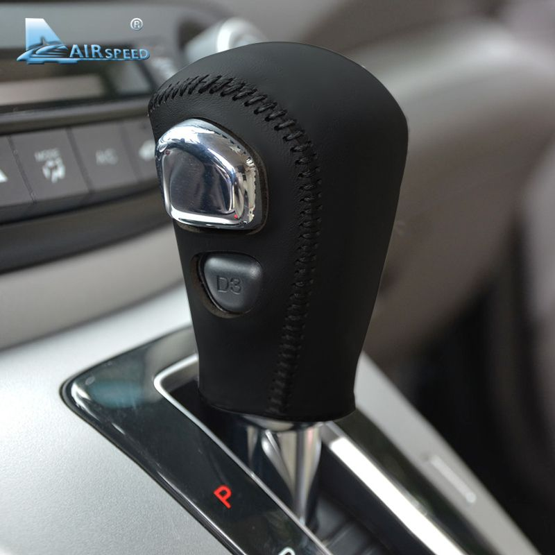 Airspeed Genuine Leather Hand-stitched Gear Shift Knob Cover for Honda CRV CR-V 2007-2011 Automatic Brown Black Car Styling