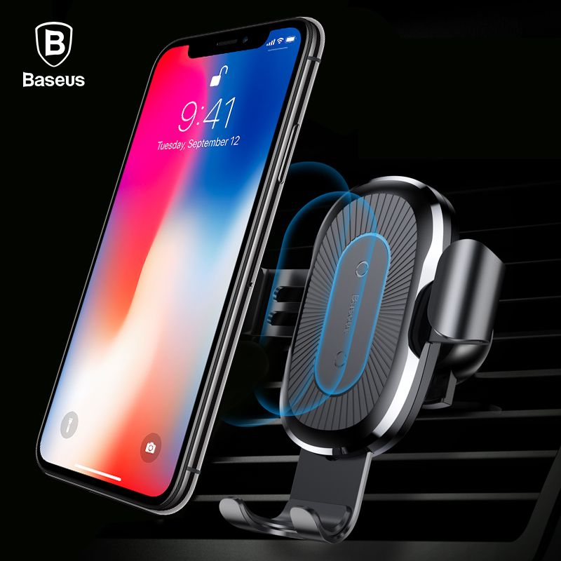 Baseus 10W QI Wireless Charger Car Holder For iPhone X 8 Samsung S9 <font><b>Plus</b></font> Fast Wireless Car Charging Charger Mobile Phone Holder