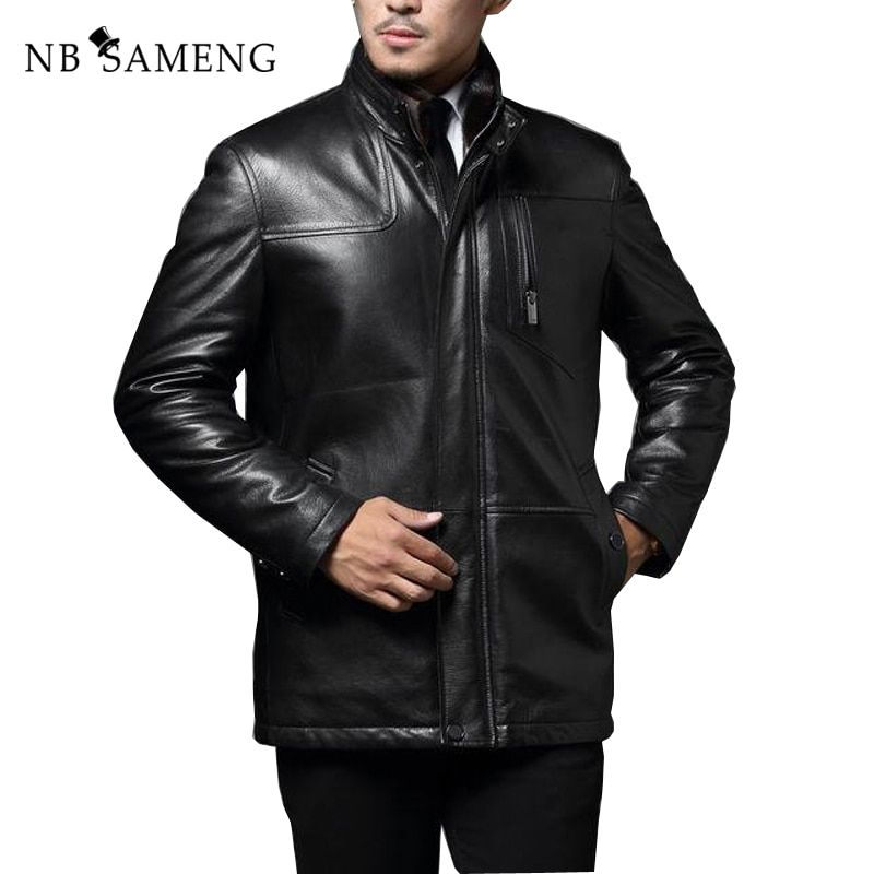 2018 Autumn Winter Genuine Leather Jacket Business Gentleman Leisure Long Leather Coat Free Shipping