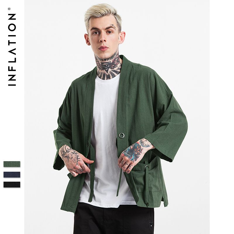 INFLATION Brand Clothing 2018 Mens New Fashion streetwear mens kimono japanese shirt Hemp Men shirt 003W16