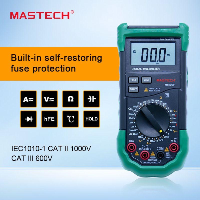 MASTECH MS8269 3 1/2 Digital Multimeter LCR Meter AC/DC Voltage Current Resistance Capacitance Temperature tester