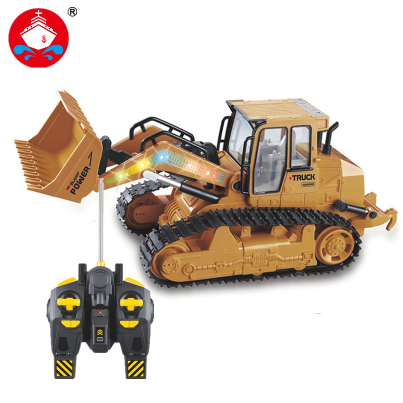 RC Truck 6CH Bulldozer Caterpillar Tractor Remote <font><b>Control</b></font> Simulation Construction Vehicle Electronic Toys Game Hobby Model