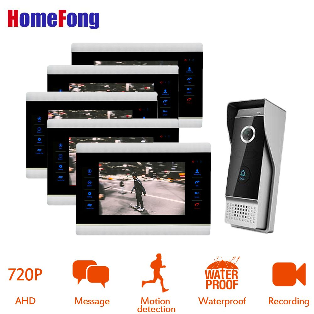 HomeFong 7'' AHD Wired Doorphone Video Doorphone With Monitor Mp4 Player Support