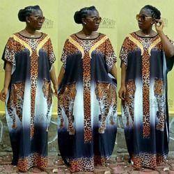 2018 Nouveau Mode Super Taille Mousseline de Soie Africain Lâche Long Dashiki Fleur Motif Impression Nation Impression Pour Dame