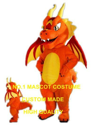 Fiery Dragon Mascot Costume adult size new custom orange fire dragon dino dinosaur theme anime cosplay costumes carnival 2978