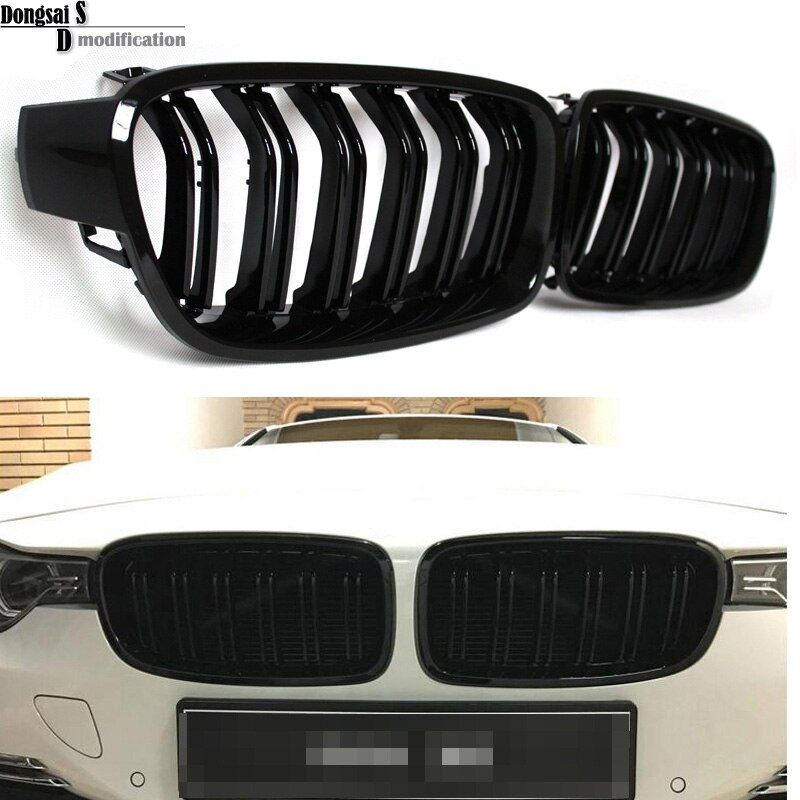 1 Paire F30 Voiture Styling Grill M3 Style F31 Rein Noir Remplacement Grille Pour BMW F30 F31 2012 + 320i 325i 328i 335i Brillant Noir