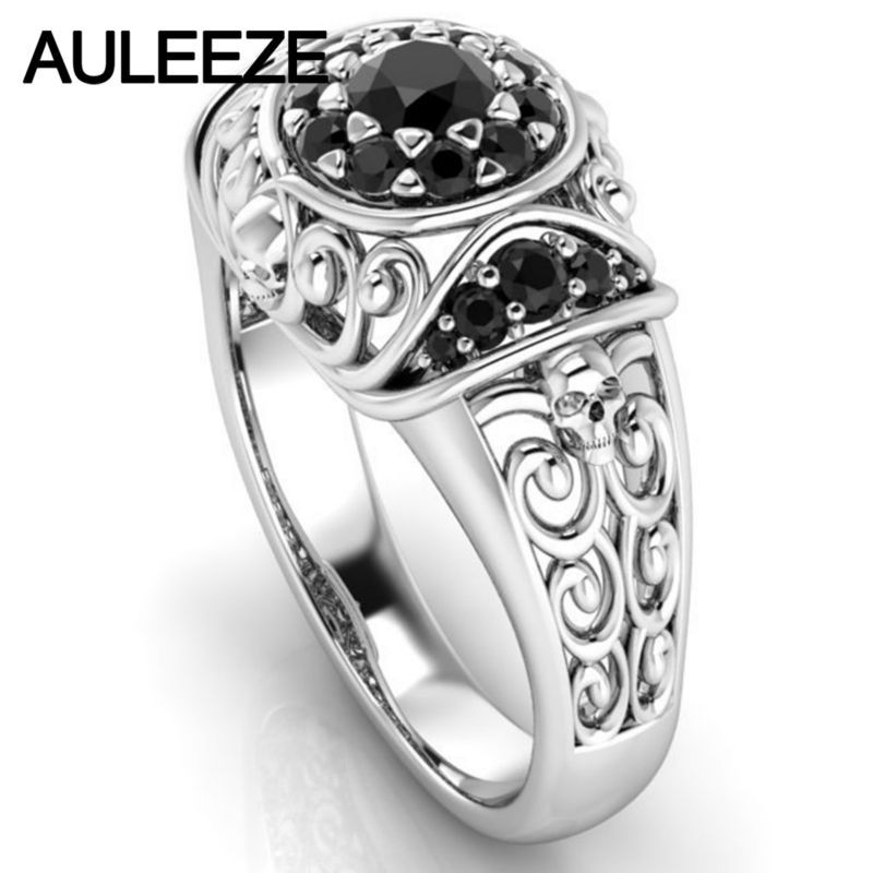 Halloween Unique Skull Ring Natural Black Agate Gemstone Ring Solid 10K White Gold Engagement Onxy Ring For Women Fine Jewelry