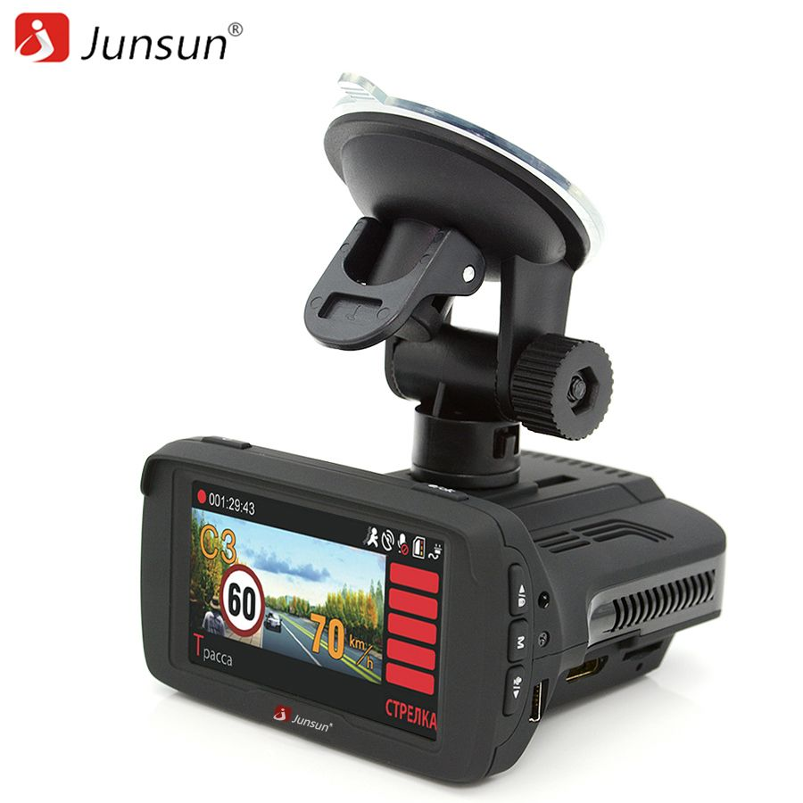 Junsun 3 in 1 Car DVR Anti Radar Detector X/K/Ka/La/CT Ambarella A7LA50 GPS <font><b>Full</b></font> HD Video Car Recorder Dash cam