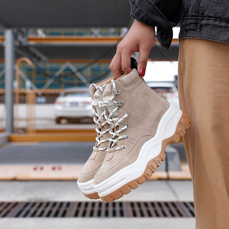 Shoes Women Fashion Brand Martin Boots Real Leather Lady chausure Autumn Female footware All Match Ankle Boots Cross-tied Beige
