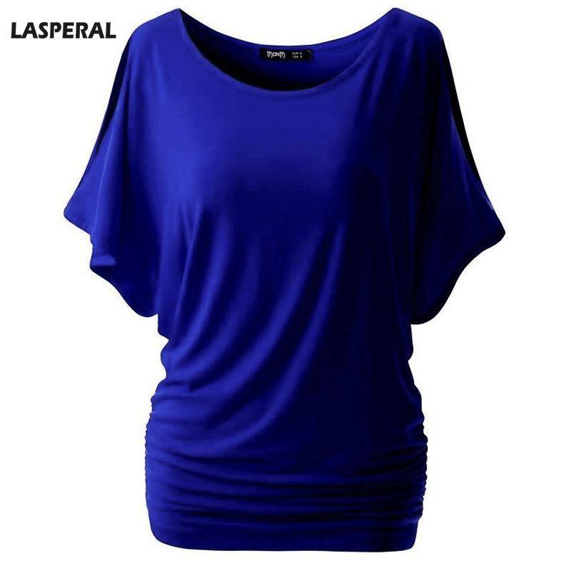 LASPERAL Marque Casual T Shirt Femmes Manches Chauve-Souris Blouse Tops Solide O-cou Femmes de Coton T-shirts D'été T-shirts Top plus la Taille