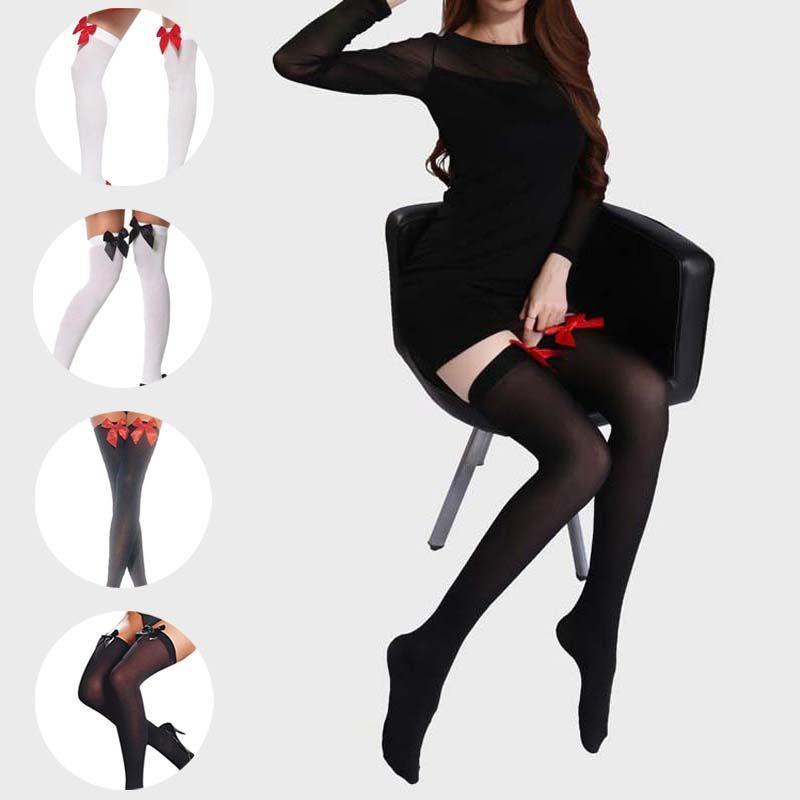 Пикантные Для женщин леди нейлон Чулки для женщин эластичные сапоги выше колена длинные Чулки для женщин Колготки для новорождённых с бант...