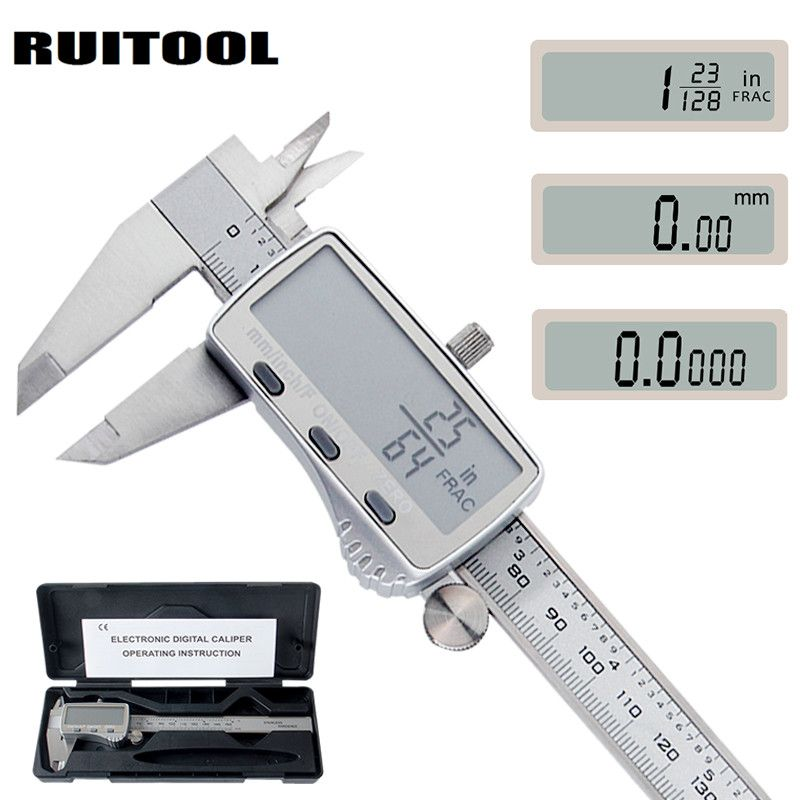 RUITOOL Digital Caliper 0-150mm Metric/Inch/Fraction Electronic Vernier Calipers Stainless Steel Micrometer Measuring tools