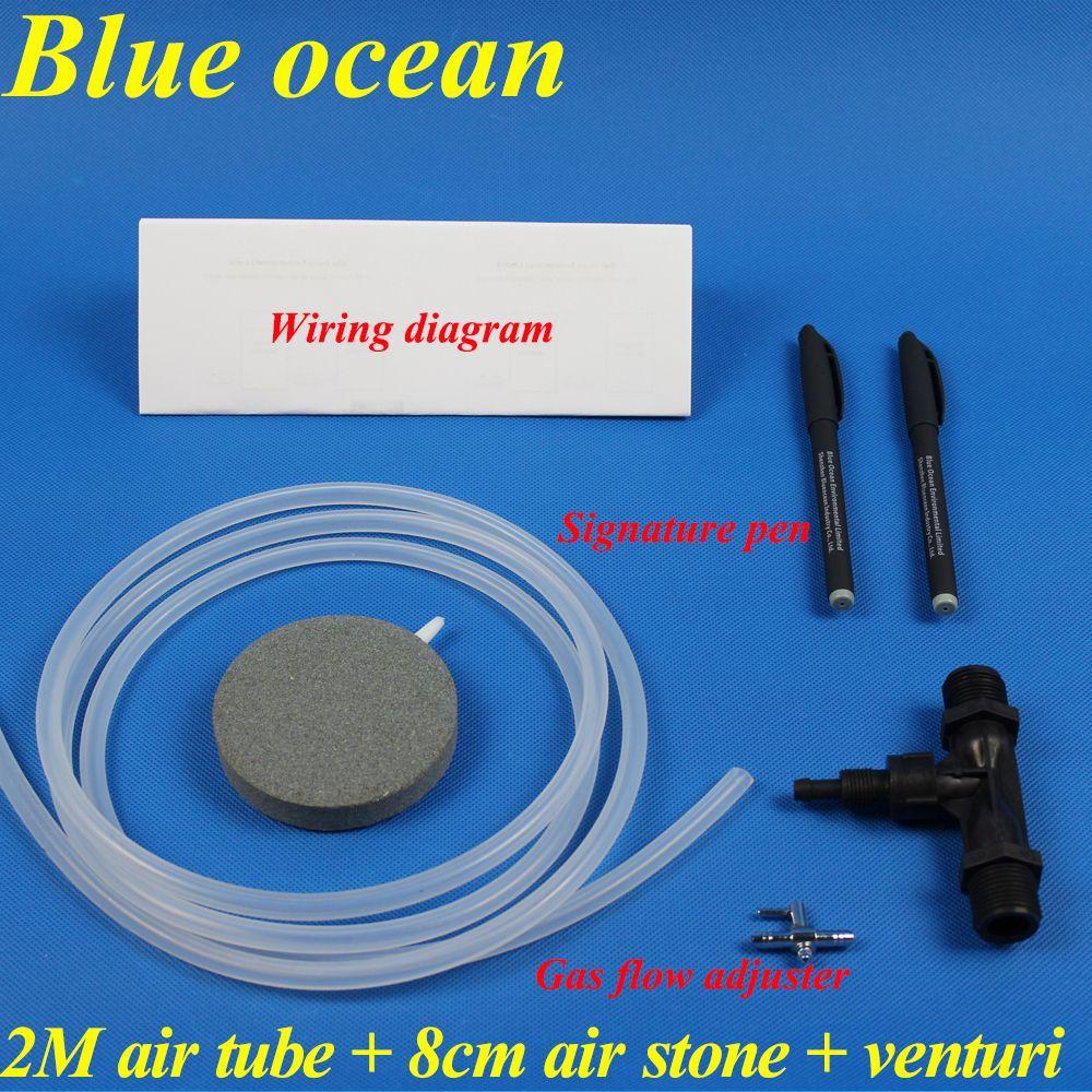 BlueOcean BO-01Gifts, tube d'air 2 M + pierre d'air 8 cm + Venturi + ajusteur de débit de gaz + stylo Signature + schéma de câblage pour pièces de générateur d'ozone