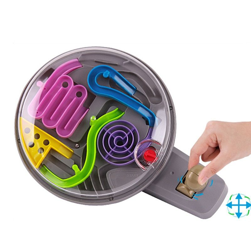 3D Magic Intellect Ball Marble Puzzle Game perplexus magnetic balls IQ Balance toy,Educational classic toys handle Maze Ball