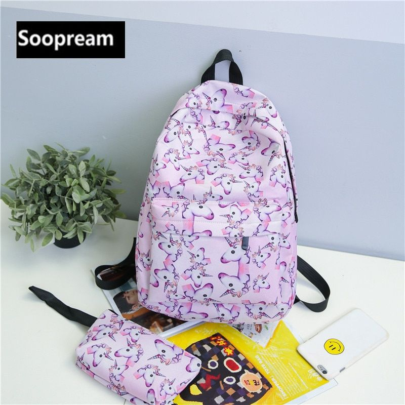 2Pcs/set Unicorn Backpack 3D animal Printing BackPack Travel Softback school Bag Mochila School Backpack For <font><b>Girls</b></font> Bagpack Set