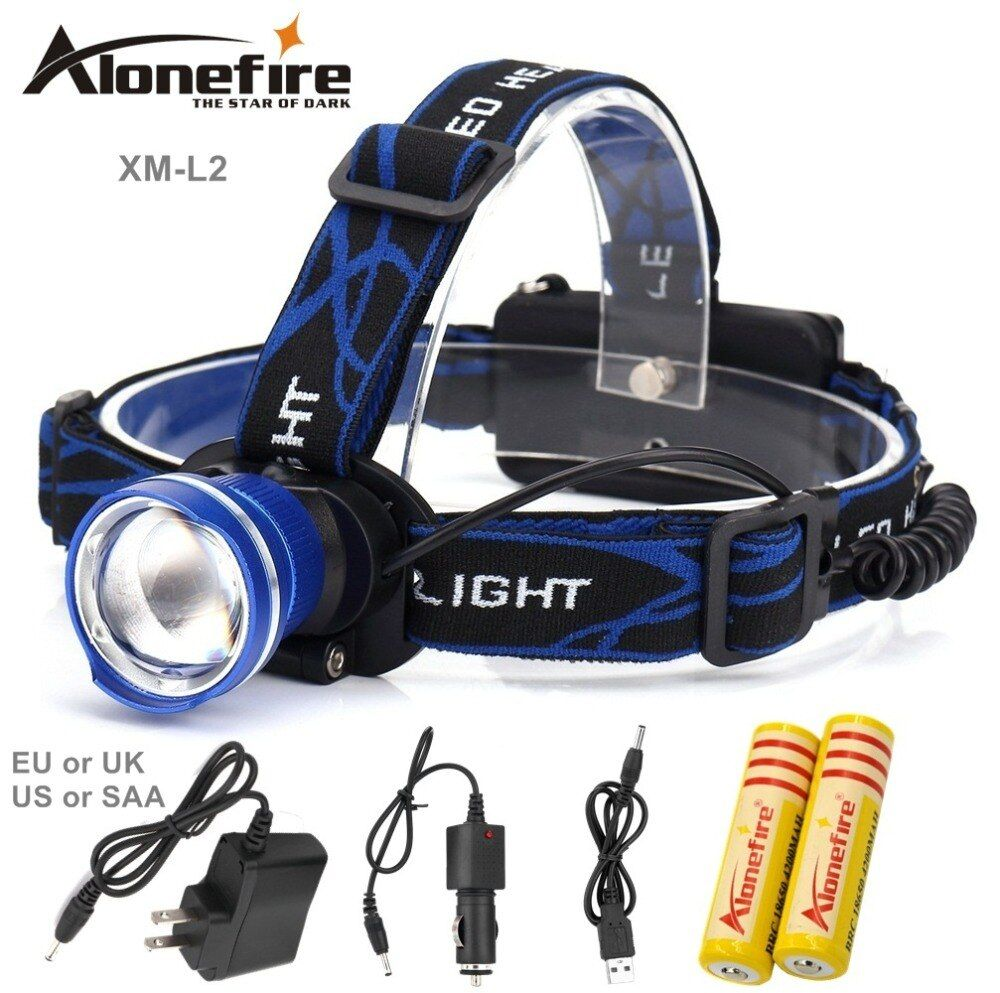 AloneFire HP87 Zoom led Head lamp Headlight CREE XM-L2 2200LM Outdoor sports HeadLamp 18650 bike led light 18650 battery