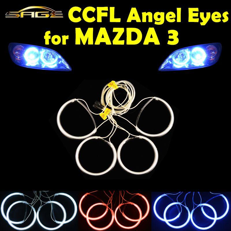 flytop 4 PCS/SET CCFL Angel Eyes for 2004-2008 MAZDA 3 Headlight HALO Rings Kit Head Lamp Decoration Color White Red Blue