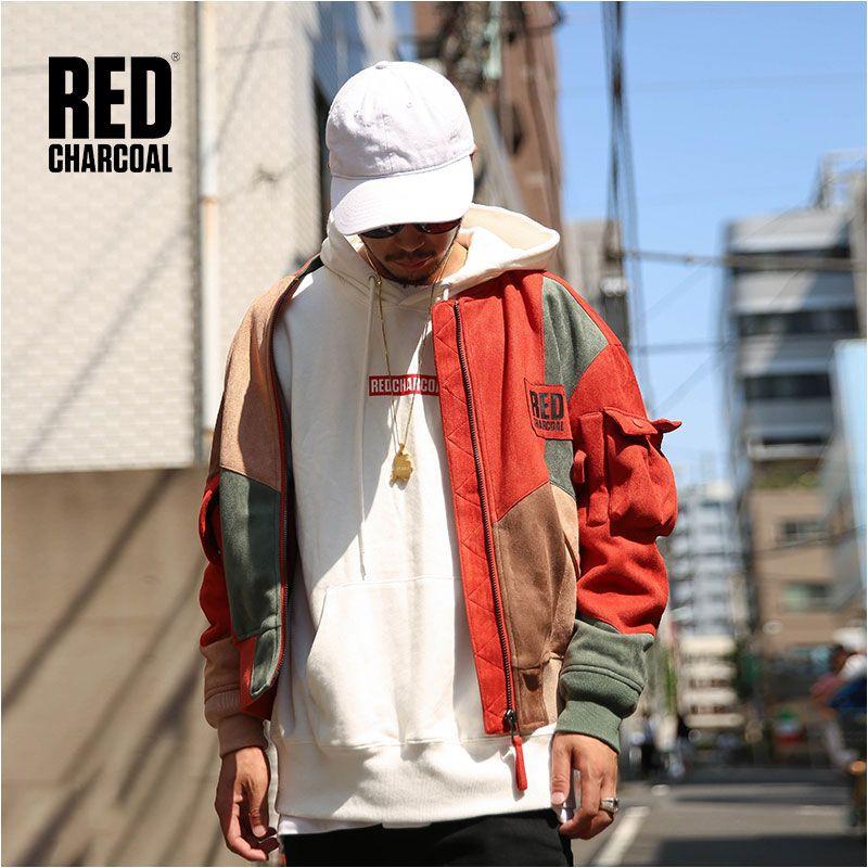 Rot Holzkohle IADF171 Winter Wildleder Stoff Vintage Stil Multicolor Spleißen Kurze MA-1 Jacke Herren