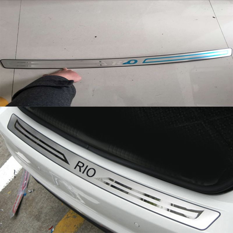 <font><b>1PCS</b></font> car-styling Stainless Steel Inner Rear Bumper Protector Sill Trunk covers Trim For Kia Rio sedan 2011-2016 car accessories