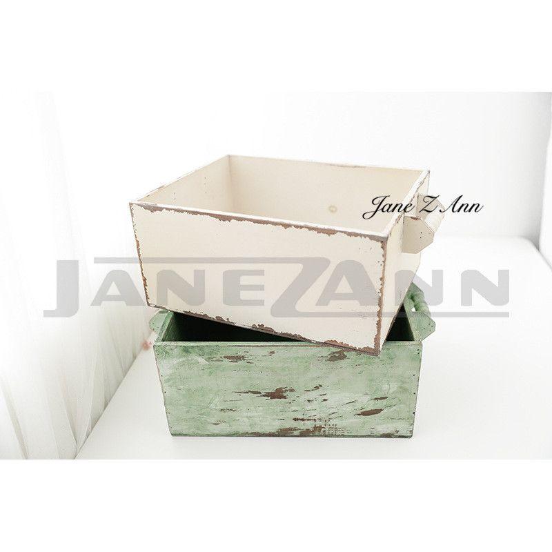 Jane Z Ann Newborn photography props retro drawer basket infant white green photoshoot studio accessories