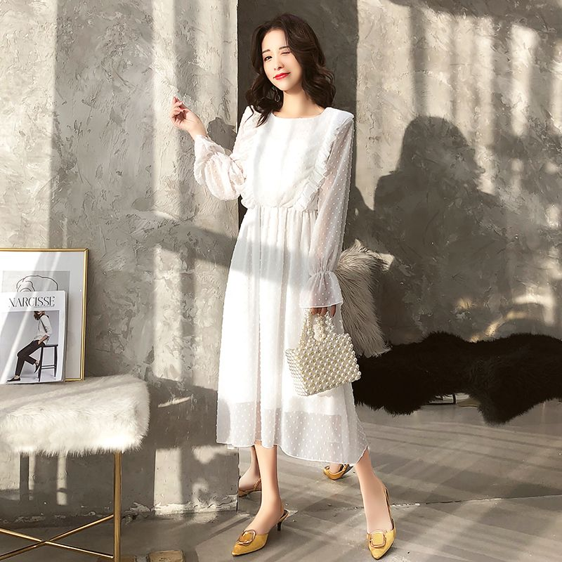 BGTEEVER Ruffles Polka Dot Women Chiffon Dress Elastic Waist Flare Sleeve Female Long Vestidos Retro A-line Women Dress 2019