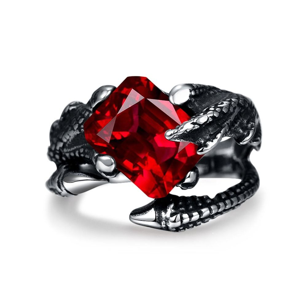 2016 Hot New Design 316L stainless steel talons finger ring with red zircon personalized jewelry punk style unisex 8-11 # R243