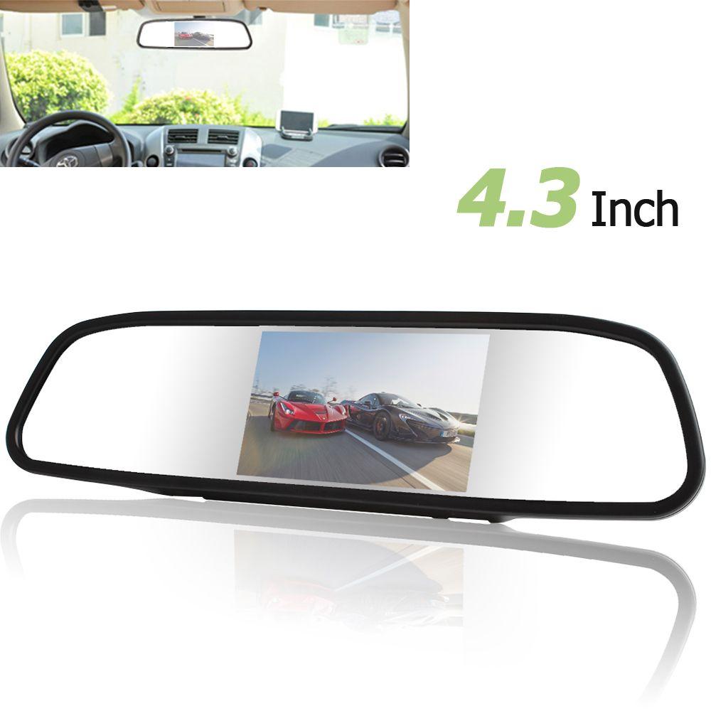 4.3 pouces numérique TFT-LCD couleur écran voiture rétroviseur moniteur 2 entrée vidéo PAL/NTSC pour voiture rétroviseur caméra de sauvegarde