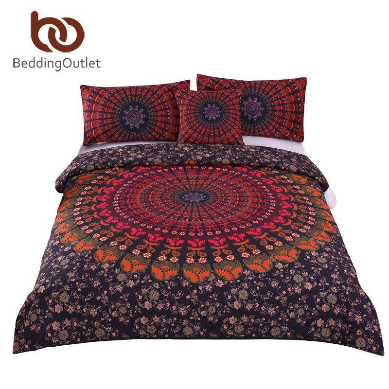 BeddingOutlet 4Pieces Mandala Boho Bedding Set Concealed Bedspread Bohemian Duvet Cover with Pillow Case Super Soft Bedlinen