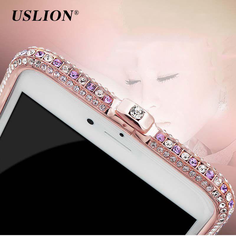 USLION Pour iPhone 7 Glitter Bling Diamants Cas de Couverture de Téléphone De Luxe en Métal en aluminium Cadre Pare-chocs Pour iPhone7 6 6 s Plus 5 5S SE