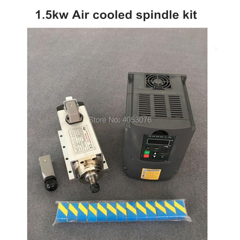 RU Delivery New 1.5kw air cooled spindle motor kit cnc + 220V/1.5KW inverter + 1set er11 Square milling machine spindle