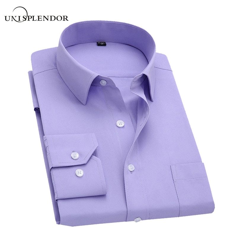 Long Sleeve Slim Men Dress Shirt 2018 Brand New Fashion Designer High Quality Solid Male Clothing Fit Business Shirts 4XL YN045