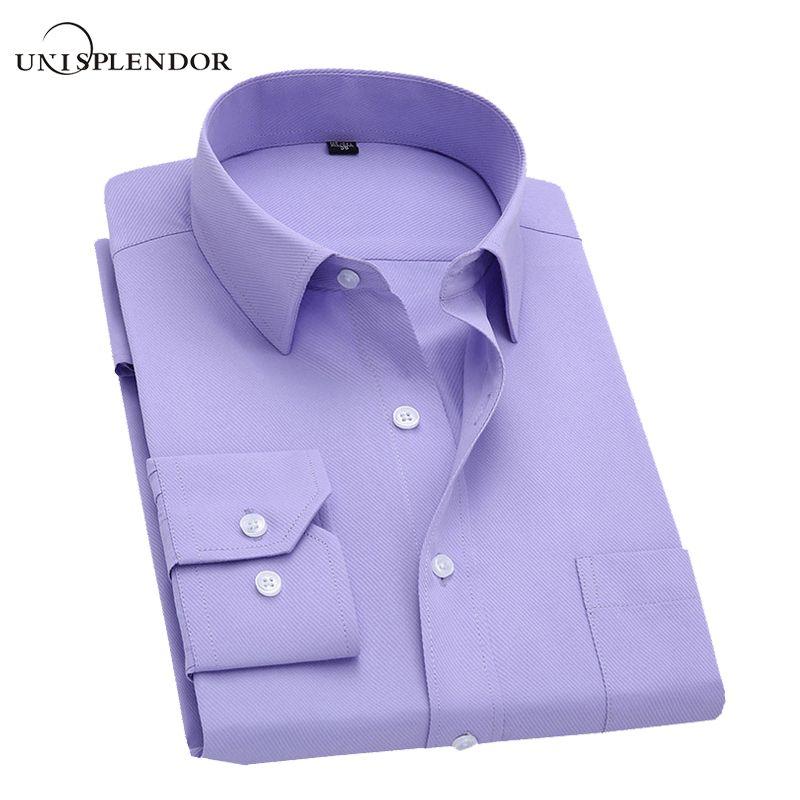 Long Sleeve Slim Men Dress Shirt 2018 Brand New Fashion Designer <font><b>High</b></font> Quality Solid Male Clothing Fit Business Shirts 4XL YN045