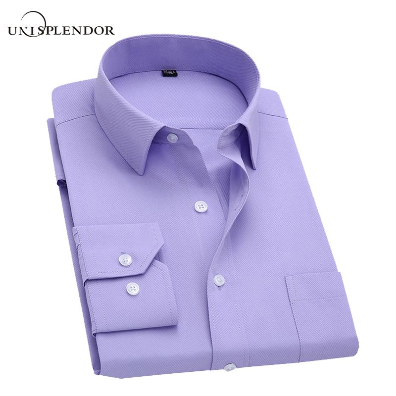 Long Sleeve Slim Men Dress Shirt <font><b>2018</b></font> Brand New Fashion Designer High Quality Solid Male Clothing Fit Business Shirts 4XL YN045