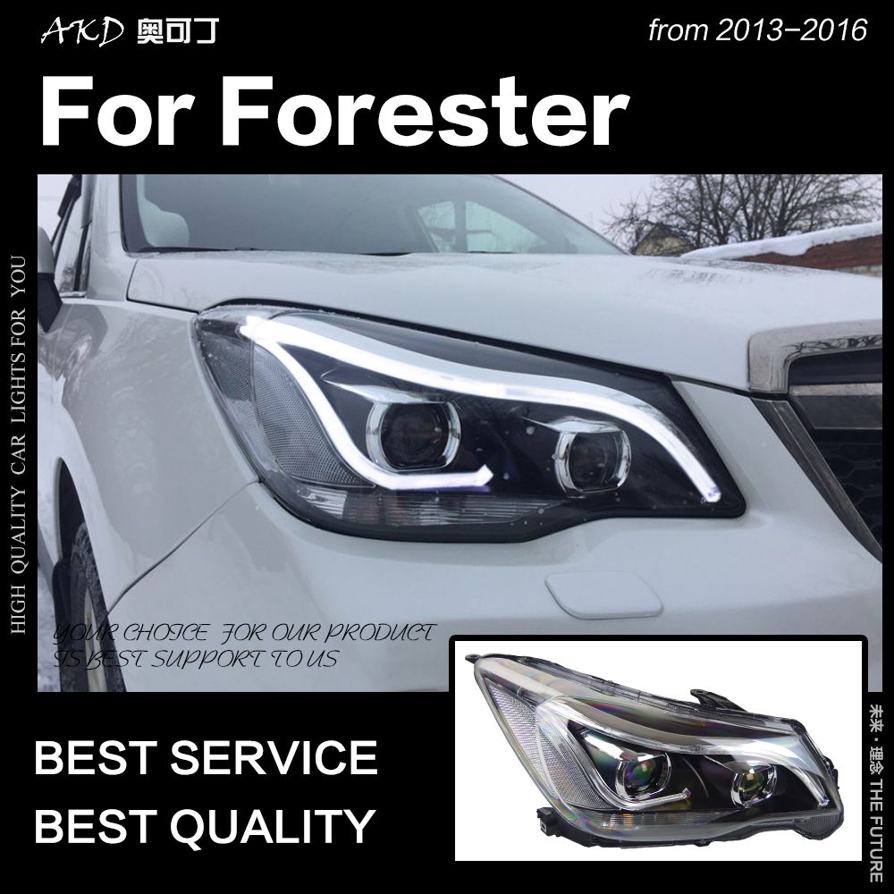 AKD Car Styling Head Lamp for Forester Headlights 2013-2016 Forester LED Headlight Angel Eye DRL Hid Bi Xenon Auto Accessories