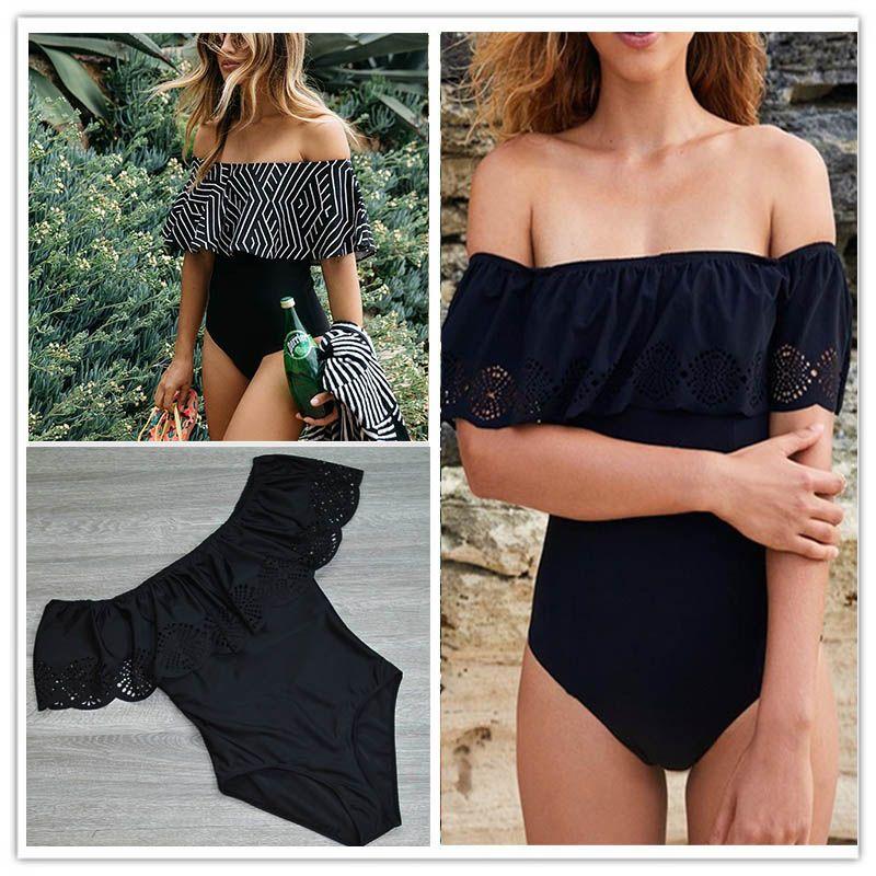 2017 New Sexy Off The Shoulder Solid Swimwear Women One Piece Swimsuit <font><b>Female</b></font> Bathing Suit Ruffle Monokini Swim Wear XL