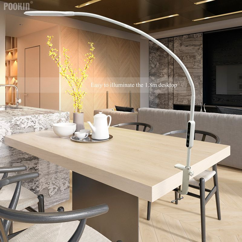 Lampe de Table à bras Long Clip lampe de bureau Led télécommande lampe protégée des yeux pour chambre à coucher lumière Led luminosité et couleur à 5 niveaux