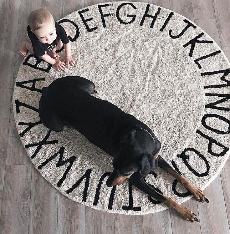 120cm Soft White Pink Kids Room Dec Plush Play Mat Anti-slip Thick Big Round Letter Alphabet Floor Carpets Circle Mat Baby Rug