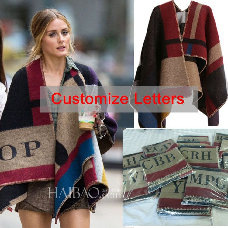 Oversized Sweater Cardigan 2015 Olivia Palermo Runway Catwalk Street Snap Knitted Cardigan Plaid Cape Poncho Shawl Women Lady