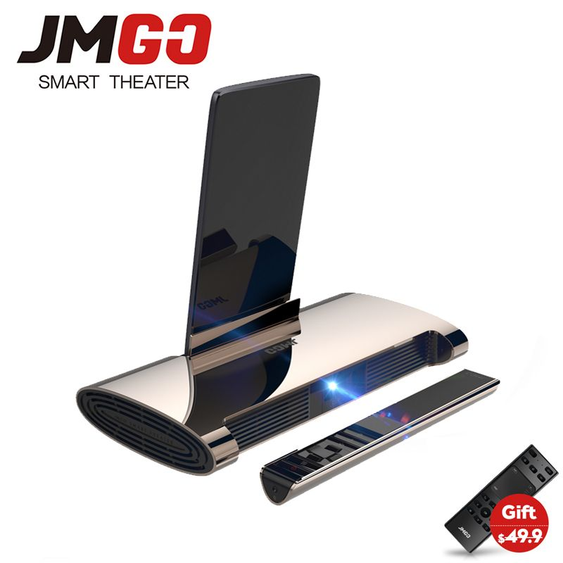JMGO M6 Android 7.0 Mini Tragbare Projektor, 200 ANSI Lumen, Home Theater Unterstützung 1080 p 4 karat Video, 5400 mah batterie, Laser Stift.