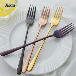 7PCS 18/8 Stainless Steel Dinner Fork Set Korea Colourful Dessert Fork With Long Handle Gold Blue Fork Set for Hotel Party