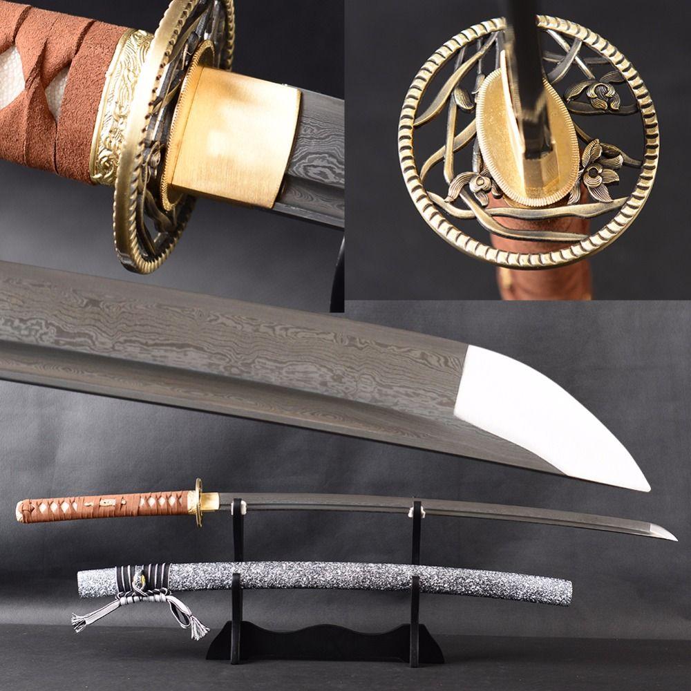 Brandon Schwerter Metall Hause Dekoration Damaskus Gefaltet Stahl Japanische katana Sharp Full Tang Samurai Schwert Leder Griff Katana
