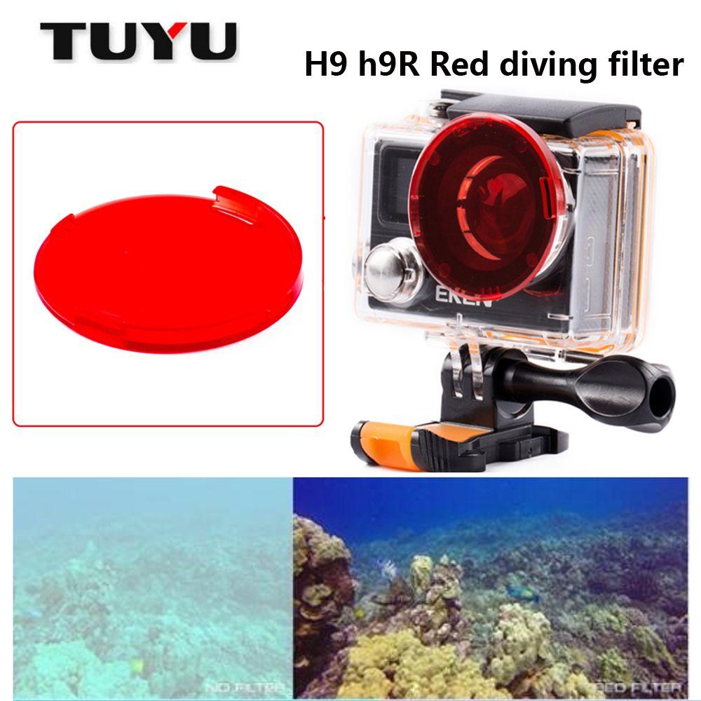 Filtre de plongée rouge TUYU pour h9 h9r h8r v8s h3r w9s w9 caisson de caméra étanche bouchon d'objectif de filtre rouge pour accessoires de caméra H9