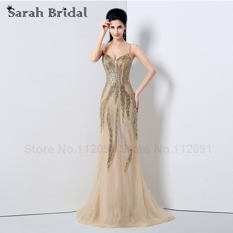 Sexy sirena del amor Vestidos de noche largo 2017 moda oro rebordear vestidos de fiesta ver a través vestidos de festa customize js009