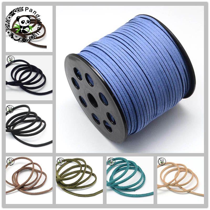 Faux daim plat cordon 3mm Bracelets collier bricolage accessoires pour la fabrication de bijoux environ 90 m/rouleau