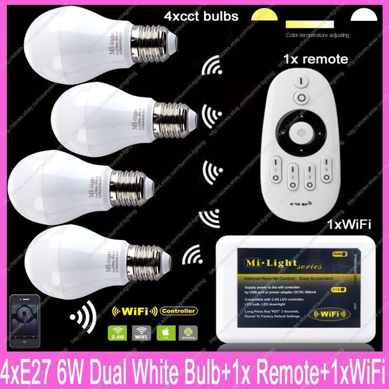 4x E27 mi. luz 6 W temperatura de color ajustable blanco CW/ww CCT LED Bombilla AC85-265V + 1x2.4g control remoto inalámbrico + 1x WiFi Hub