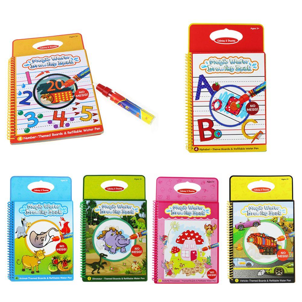 6 Farben Magic Water Zeichnung Buch Malbuch Doodle mit Magic Pen Malerei Bord Juguetes Für Kinder Bildung Zeichnung Spielzeug