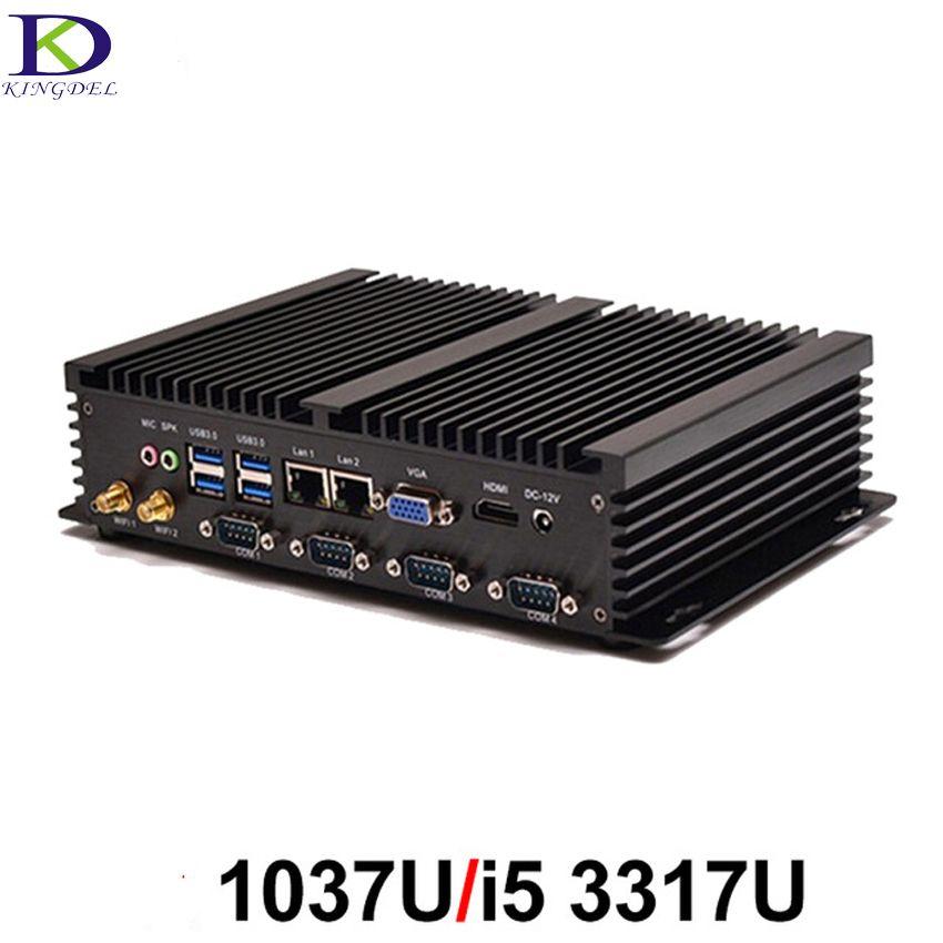 Mini PC Fanless Industrial PC Embedded Computer low power Rugged Computer Celeron 1037U i5 3317U Barebone PC with 4*RS232 COM