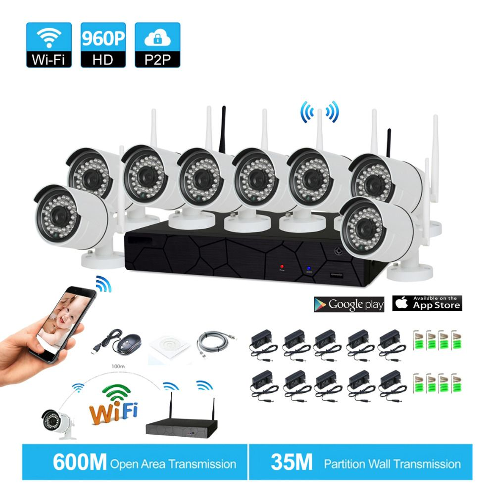Plug and Play 8CH 1080P HD Wireless NVR Kit P2P 960P Indoor Outdoor IR Night Vision Security 1.3MP IP Camera WIFI CCTV System